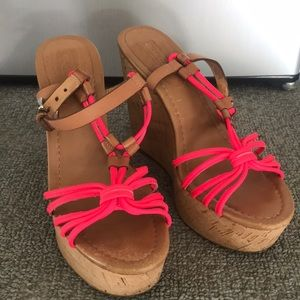 Coach wedge platform sandals hot pink